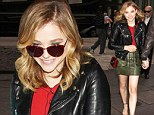 Gallivanting in green: Chloe Moretz made a splash in a chic olive leather skirt as she left an interview at Sirius XM Radio in New York City on Thursday