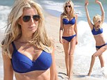 Real Housewives' Aviva Drescher throws a sexy curve in blue swimwear as she enjoys beach day in the Hamptons