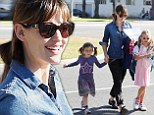 Just us girls! Jennifer Garner picks up her stylish daughters from school as Seraphina rocks violet and Violet plays in pink