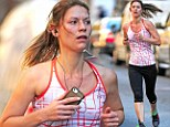 Catch Carrie if you can! Homeland star Claire Danes displays her fit figure in tight exercise gear as she sweats it out during a grueling run