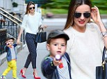 Fluro fun! Miranda Kerr and Flynn stop traffic in mother and son brights
