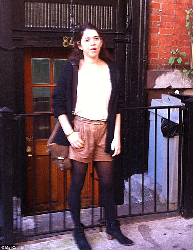 'Unrepentant': Rachael Sacks, 20, addressed the furore over her essay today in front of her West Village apartment in New York