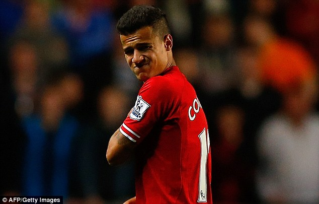 Still out: Phillippe Coutinho is not yet fit after picking up a shoulder injury in mid-September