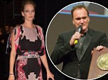 Uma Thurman dazzles in a floor length gown as she presents Quentin Tarantino with prestigious Lumiere Prize in France