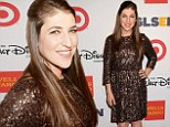 Mayim Bialik smiles at Respect awards... as it emerges she is suing over crash that 'nearly cost her hand'