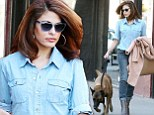That's the way to do it! Eva Mendes pulls off the tricky trend of double denim on a very chic walk with her dog