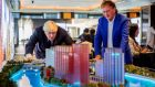 Mayor of London Boris Johnson and developer Seán Mulryan looking at a model of the proposed London development.