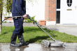 Cleaning path way with a water pressure system