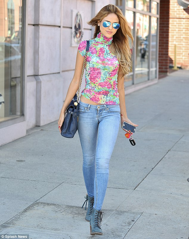 Floral fancy: Eiza was seen leaving a nail salon in Beverly Hills earlier in the day in a flowery outfit