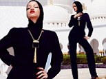 Rihanna¿s taking no risk as she covers up in Abu Dhabi while posing outside mosque