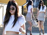 Kylie Jenner, 16, wears nude leather mini to hang at her home away from home - the Commons in Calabasas