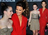 My has she grown! Kate Beckinsale rocks red wrap dress alongside 14-year-old daughter Lily at Pink Party
