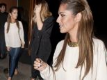 Cheryl Cole wore a daring pair of blue leather trousers for a dinner with Kimberley Walsh on Saturday night