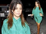 She must REALLY love that look! Kourtney Kardashian wears bizarre gladiator shoes yet again for glamorous night out