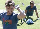 Sch-wing! Zac Efron looks fit and healthy as he crams in some push ups before hitting the golf course in California