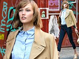 Working it: Fresh-faced beauty Karlie Kloss had her game face on Monday as she modelled during a photo shoot for Coach in New York City
