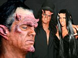 Sympathy For The Devils! Slash and wife Perla cut a frightening sight as they are made up in ghoulish make-up and prosthetics for Halloween bash