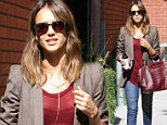 Is this the new business casual? Jessica Alba pops into her Santa Monica office in a red transparent top