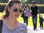 How fancy! Amy Adams and her fiance Darren Le Gallo give their three-year-old daughter a taste of luxury with brunch at the famed Beverly Hills Hotel