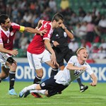 Alex Prichard of England is fouled by Metwaly Mahmoud of Egypt