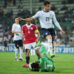 Awad Mossad of Egypt saves at the feet of Ross Barkley of England during the FIFA U-20 World Cup Group F match between Egypt and England at the Ataturk Stadium on June 29, 2013 in Bursa, Turkey.  (Photo by Jamie McDonald - FIFA/