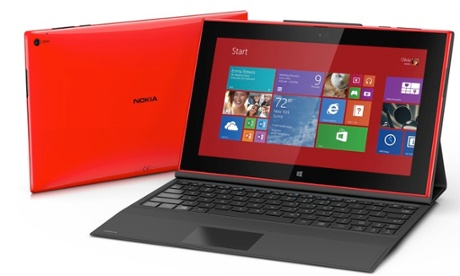 Nokia Lumia 2520 tablet has a keyboard accessory that turns it into a laptop hybrid with extended battery life.
