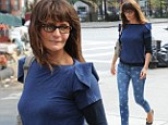Fashion Star! Supermodel Helena Christensen shows off perfect pins in star-print skinny jeans