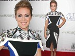 Alyssa Milano goes pattern-wild in oddly designed dress for Project Runway premiere in New York