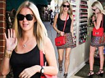 Pamper me perfect! Nicky Hilton parades her lean legs in a multicoloured mini skirt as she treats herself to a salon session