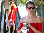 Alessandra Ambrosio puts her endless legs on display in short red dress as she takes her adorable daughter Anja to ballet class