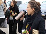A healthy start! Jessica Alba double fists green juice and tea as she arrives looking slightly dishevelled for early morning call time on set of new movie