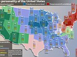 The United States of mind: A 13 year study has created a personality map showing the varying moods of America from state to state