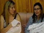 Reunited: Maria Lorena Gerbeno (left) and Veronica Tejada (right) were finally able to hold their own daughters three weeks after the kids had been switched at birth