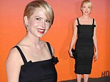 A work of art! Michelle Williams is a porcelain beauty in chic black dress at museum fundraising gala