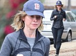 A make-up free Calista Flockhart keeps her slender body in shape as she heads out for one of her regular runs