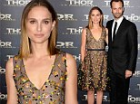 Natalie Portman shimmers in floral frock and sleek new haircut at her film's Paris premiere with husband Benjamin Millepied