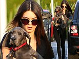'My new little princess!' Kendall Jenner's 18th birthday comes early as she is given a Great Dane puppy from Rob Kardashian