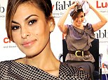 That's a wrap! Eva Mendes gives an impromptu lesson in how to tie a head scarf at fashion and beauty blog event