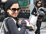 'Love you so!': Hilaria Baldwin tweets touching birthday message to stepdaughter Ireland... as she cradles baby Carmen during solo city stroll