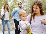 Make-up free Alessandra Ambrosio opts for a casual look on coffee run with her two favourite boys... fiance Jamie and son Noah