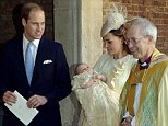 Service: The Duchess of Cambridge walks with her husband Prince William and the Archbishop of Canterbury