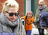 The eight-year-old looked excited for the upcoming holiday as she walked beside her mother, Michelle Williams, in New York City on Thursday.