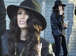 Cher Lloyd wears wide-brimmed hat and leather-effect leggings as she enjoys a cigarette break after lengthy session in the studio