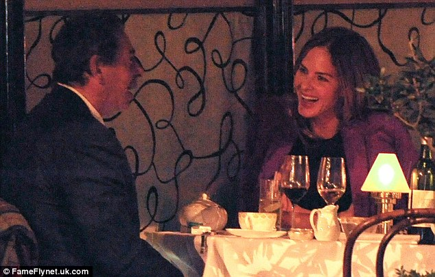 Enthralled: The pair certainly don't appear to have run out of conversation, and looked in good spirits during the meal