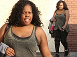 Glee star Amber Riley is back at dance rehearsals in a knee brace after a hard week 'mentally and physically,' she revealed