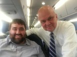 Spy vs spy: Tom Matzzie (left) posed for a picture with former NSA chief Michael Hayden (right) after spying on his phone conversations during a train ride