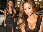 Nicole Scherzinger goes bra-less in VERY low-cut leather frock as she hits the town in London