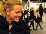 She's not precious! Makeup free Naomi Watts takes her giggling sons to school on the Subway