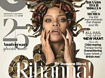 Naked art: Rihanna appears on the cover of British GQ wearing nothing but a bunch of snakes
