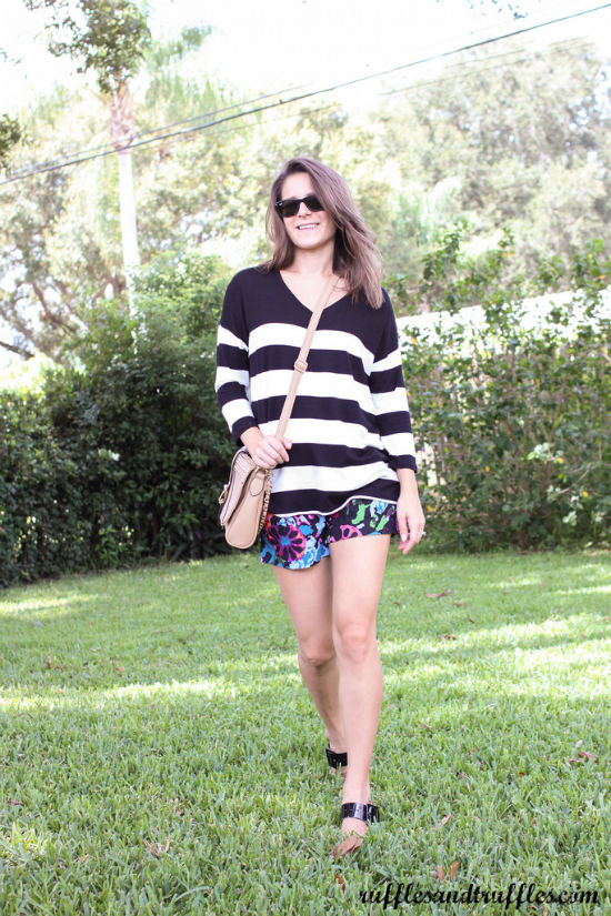 Stripes and floral outfit